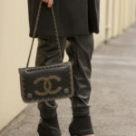 chanel bag with leather pants