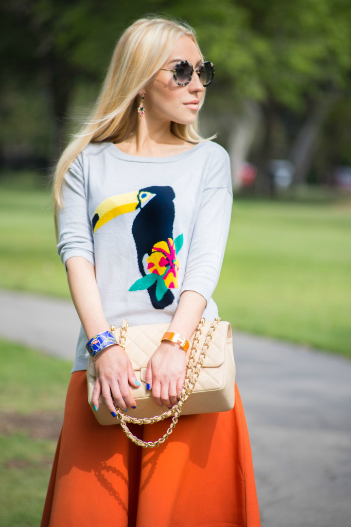 Orange and Grey outfit, tropical colors, bird print sweater,orange skirt,H&M skirt,clic clac