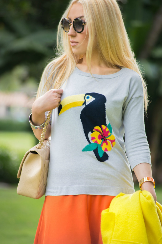 Toucan Sweater,intarsia sweater,yellow coat,tropical punch