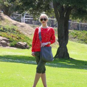 H&M top,khaki pants,red top,taupe bag
