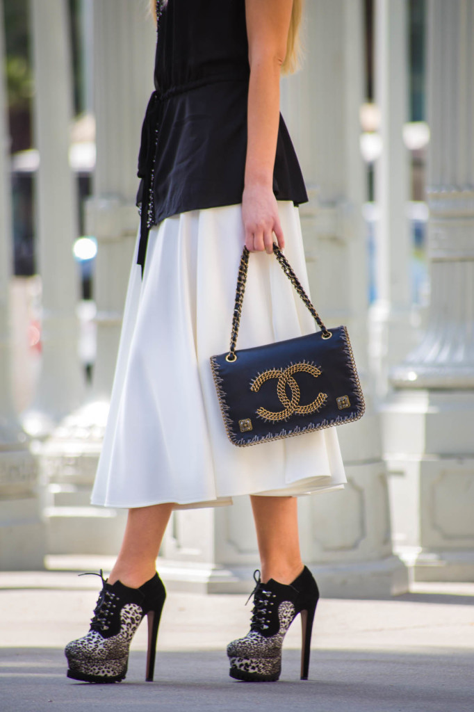 Alaia Shoes,Chanel bag,white skirt,embellished tope