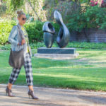 checked pants,taupe boots,beige boots,beige booties