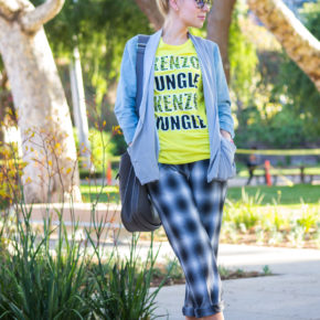h&m pants,check pants,kenzo top,gray and yellow outfit