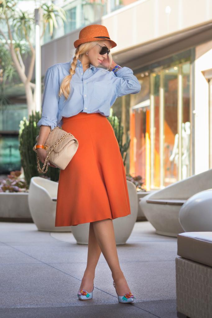 H&M skirt,midi skirt,sophia webster shoes,orange skirt