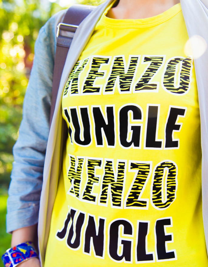 Kenzo,kenzo jungle,yellow t-shirt,LA street style