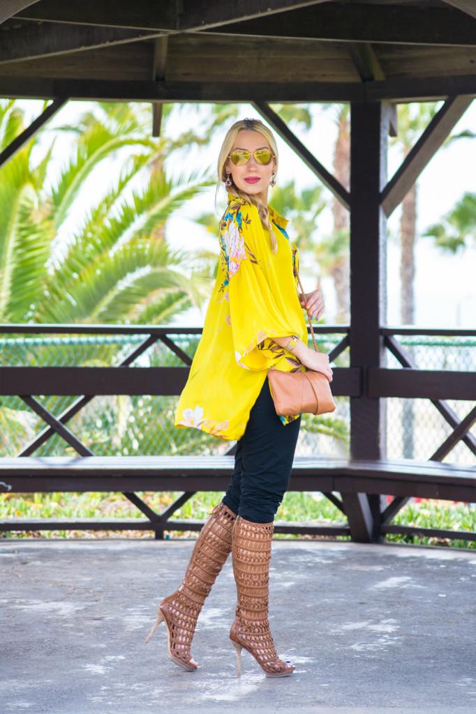 kimono blouse,braid,vince cropped pants