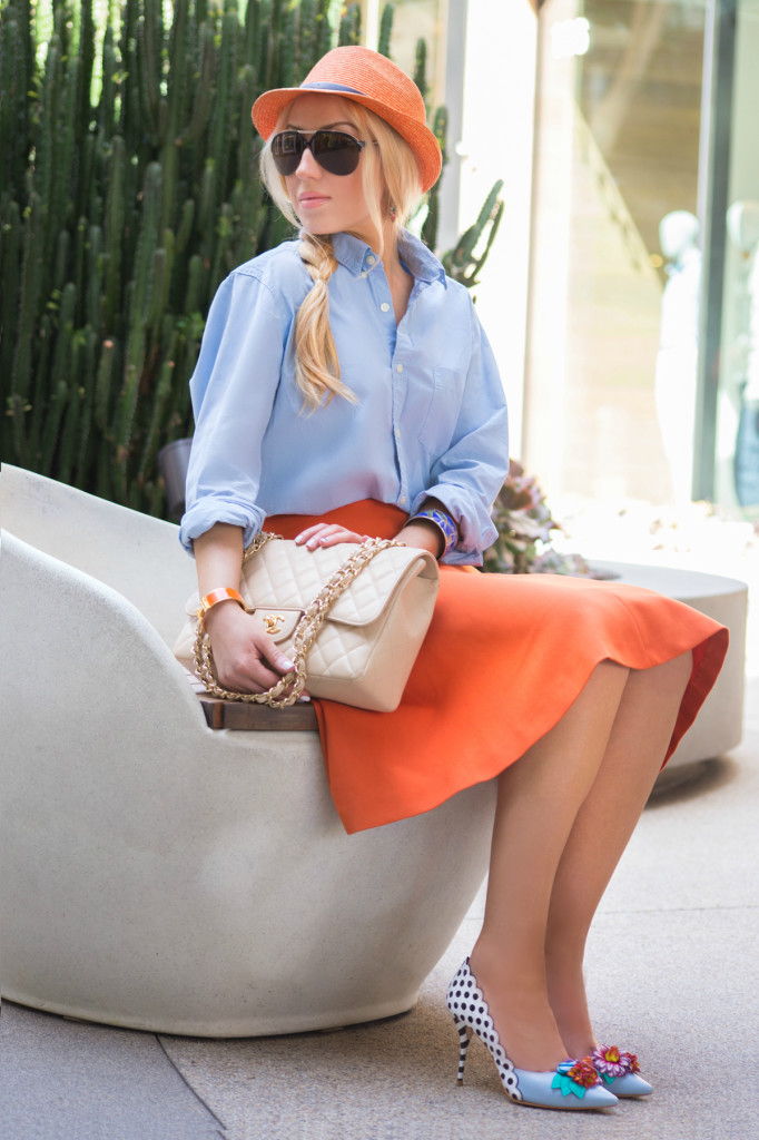 orange and blue outfit,chanel bag,fedora hat