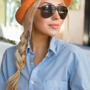 orange fedora hat,blue shirt,H&M shirt,tom ford aviators