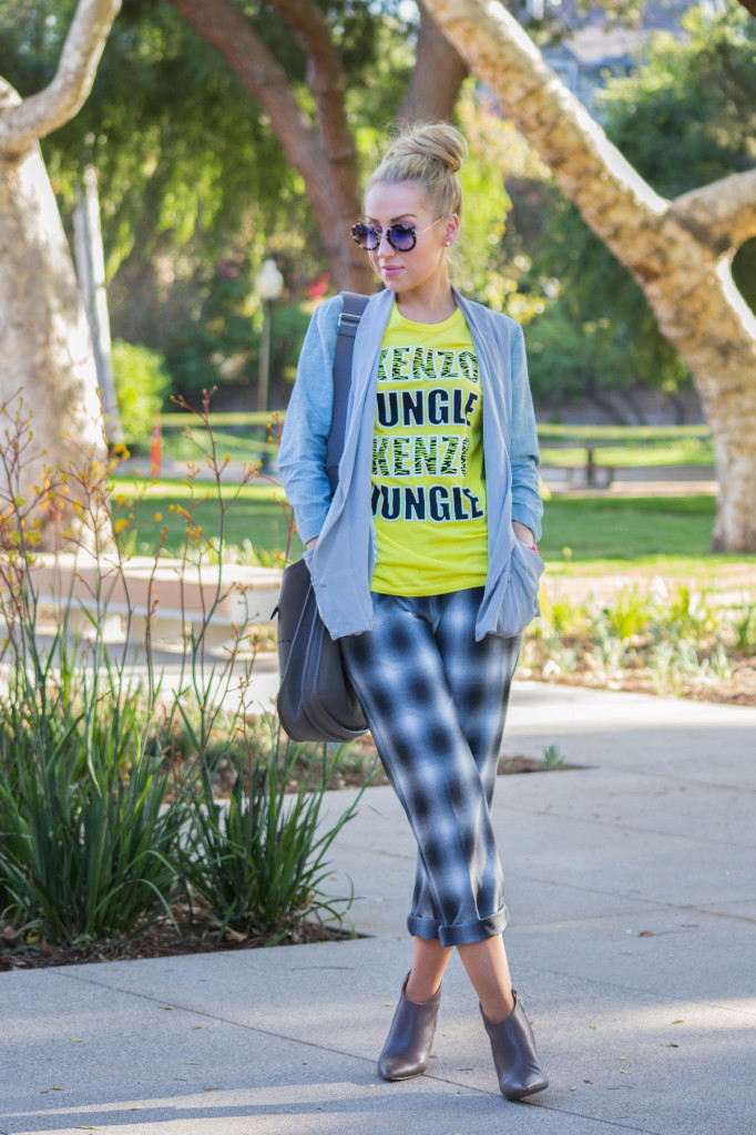 plaid pants,H&M pants,checked pants,kenzo tshirt
