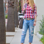 red ankle strap sandals,torn jeans,baggy jeans,red shirt,taupe bag,hermes bag