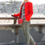 red suede sandals,red shoes,khaki pants,red quilted jacket