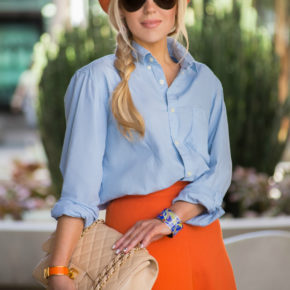 spring outfit 2014,orange and blue outfit,h&m top