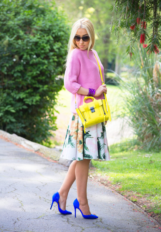 pansy,yellow and floral outfit,zara shoes,floral skirt,pastel colors,topshop skirt,zara sweater