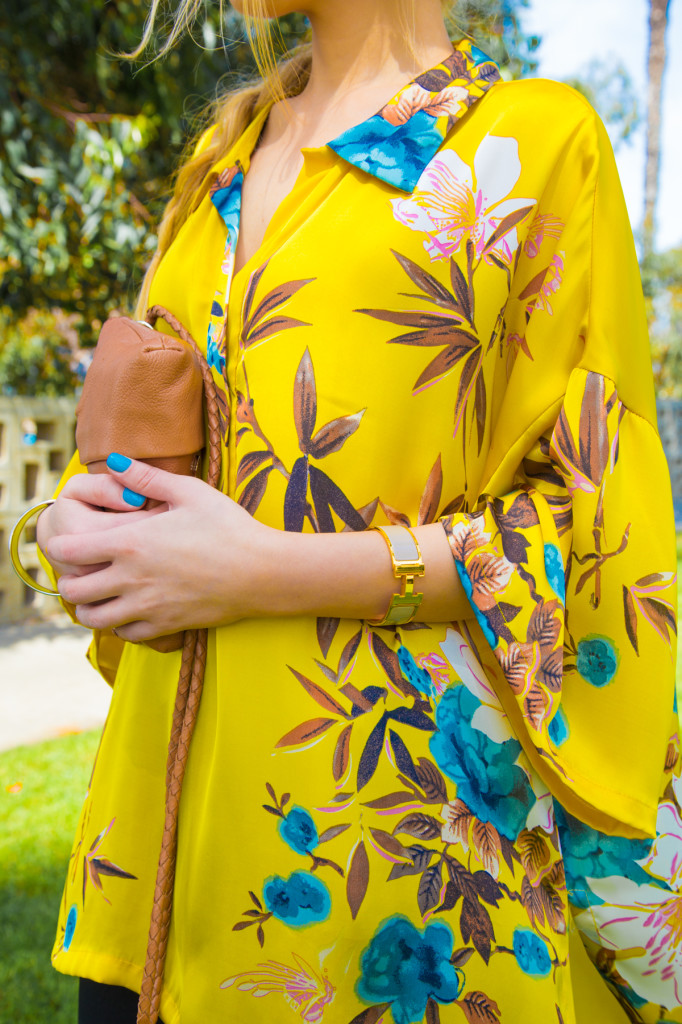 zara blouse,zara top,zara kimono,yellow floral top