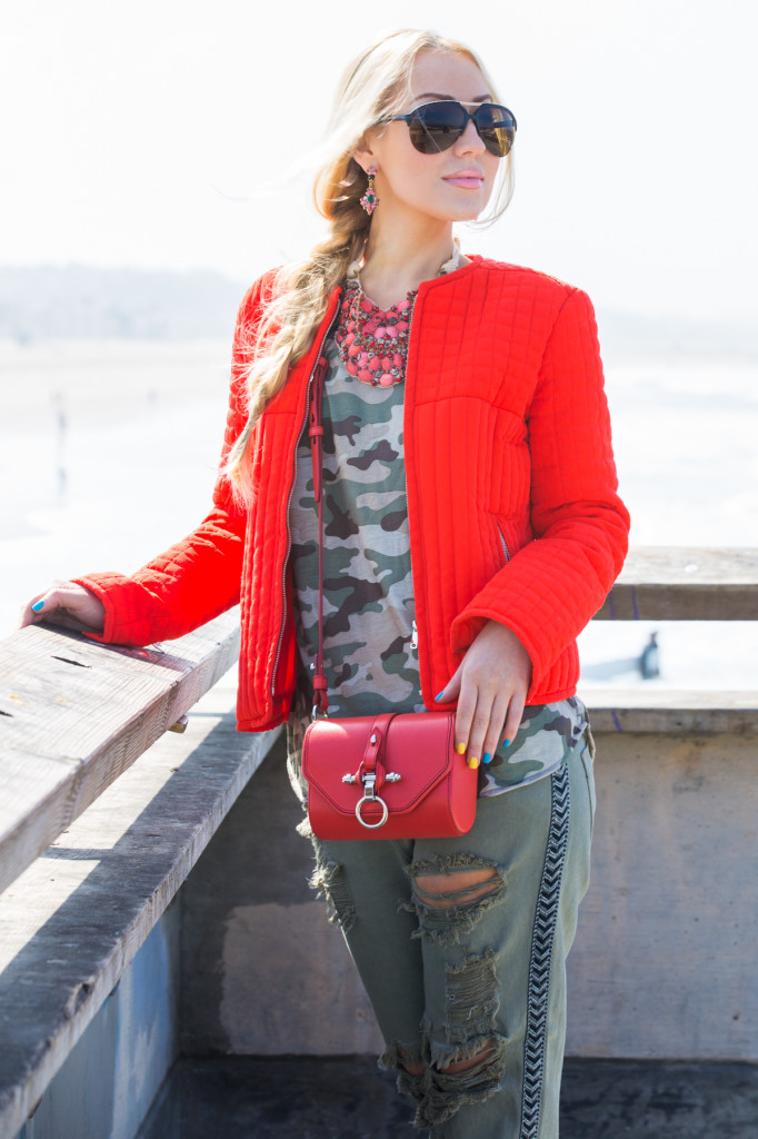 zara jacket,statement necklace,camouflage t-shirt,obsedia bag,forever21 top