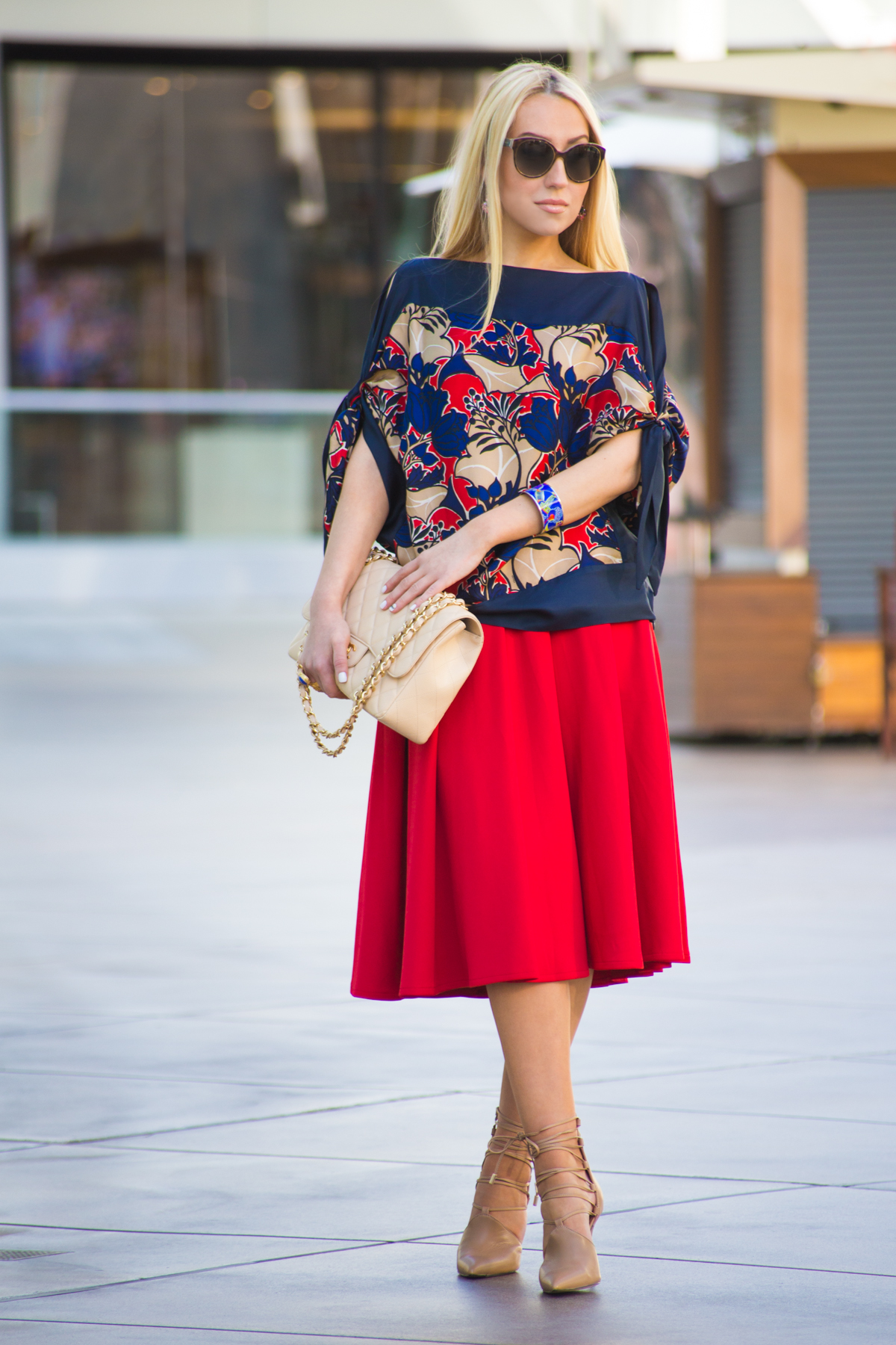 Red and Navy outfit, miu miu sunglasses,chanel bag,hermes bangle