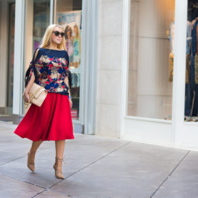 asos midi skirt,red skirt,red and navy street style,beige shoes