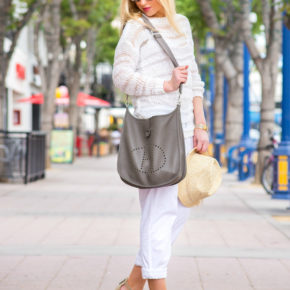 hermes evelyne,white and gray,barbara buy shoes,staw hat,vince pants
