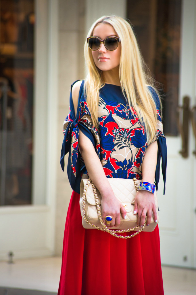 miu miu sunglasses,red skirt,chanel jumbo