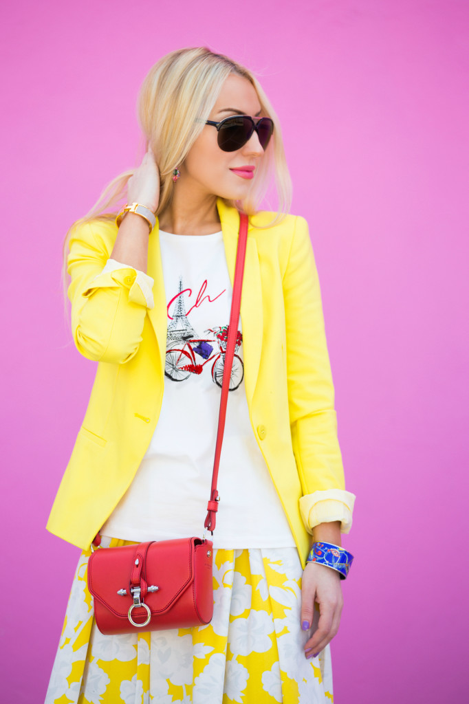 obsidian bag,topshop skirt,yellow skirt,pink and yellow,LA blogger,LA style blogger
