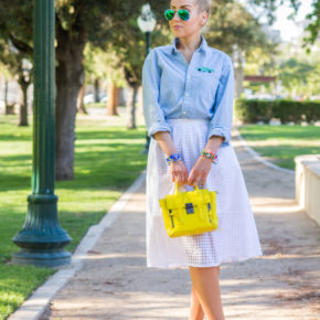 ray- ban blue mirrored sunglasses,phillip lim bag,sophia webster mika pumps,sophia wester shoes,hot rod brooch