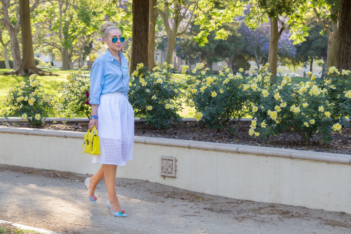 sophia webster flower pumps,la style blogger,los angeles streetstyle,neon bag