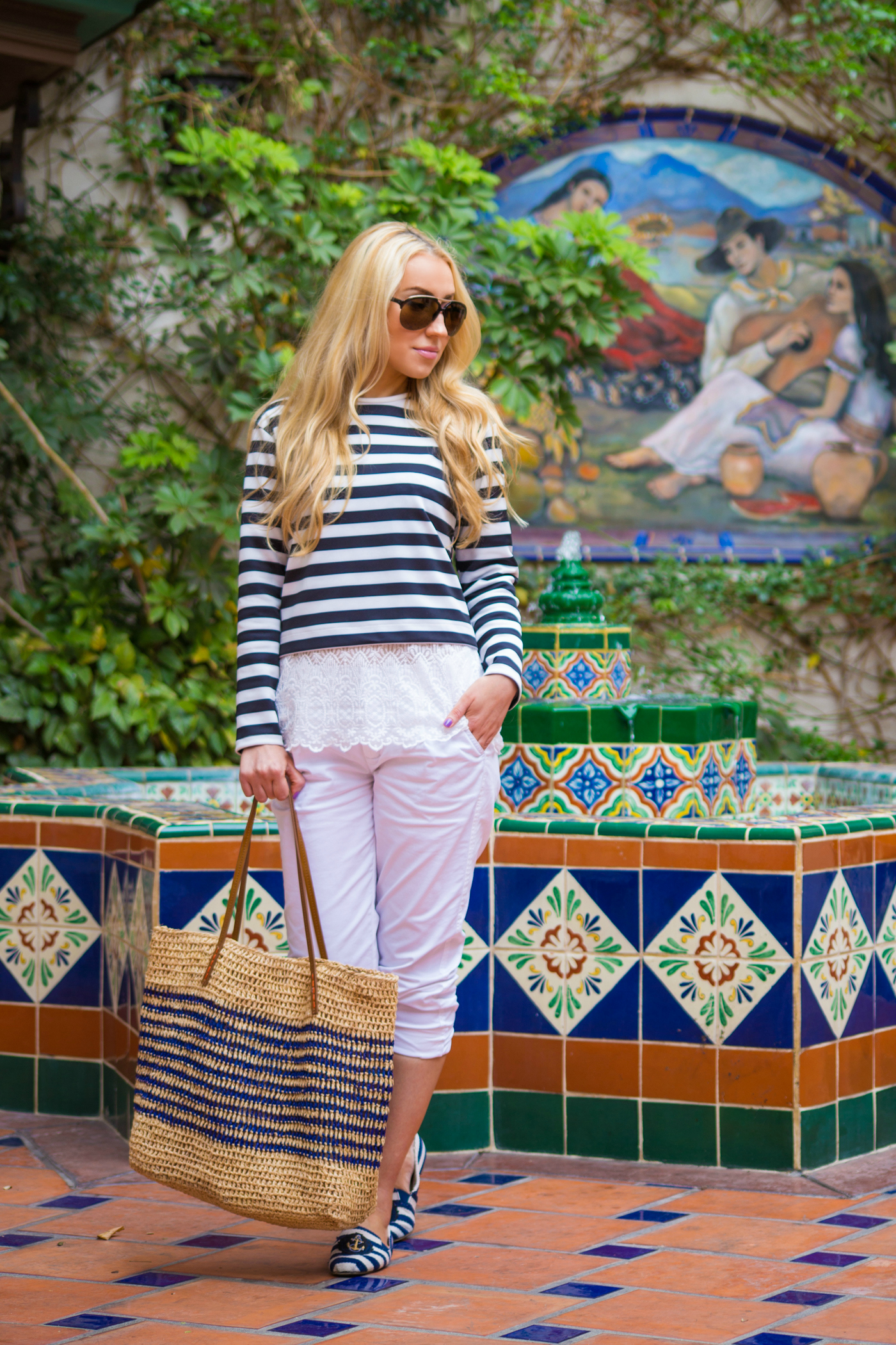 straw basket,white and stripes,nautical trend,striped outfit,striped espadrilles