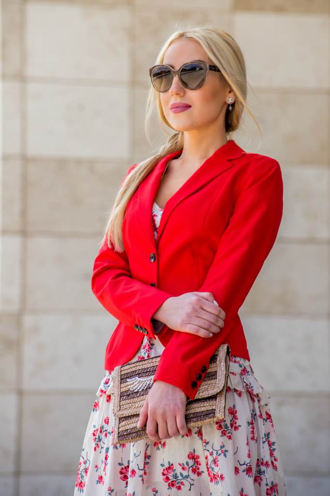 summer 2014 outfit,red jacket,red blazer,H&M jacket,miu miu sunglasses,floral dress,chanel earrings,straw clutch