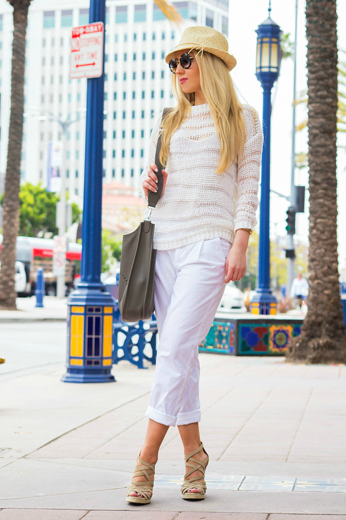 vince pants,white nordstrom sweater,straw hat,barbara bui,hermes bag