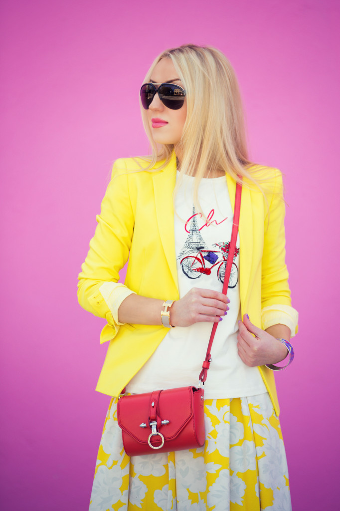 yellow and red outfit,red obsidian bag,givenchy bag,zara blazer,Strawberry Banana Sundae