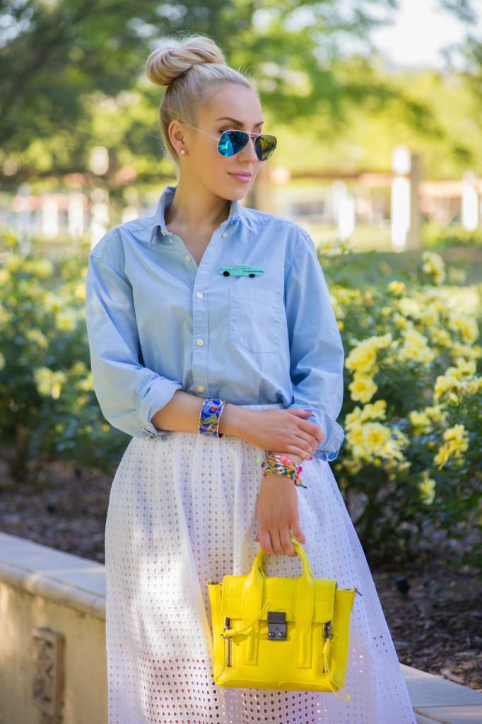 yellow bag,hermes bracelet,zara cut work skirt,yellow and blue outfit