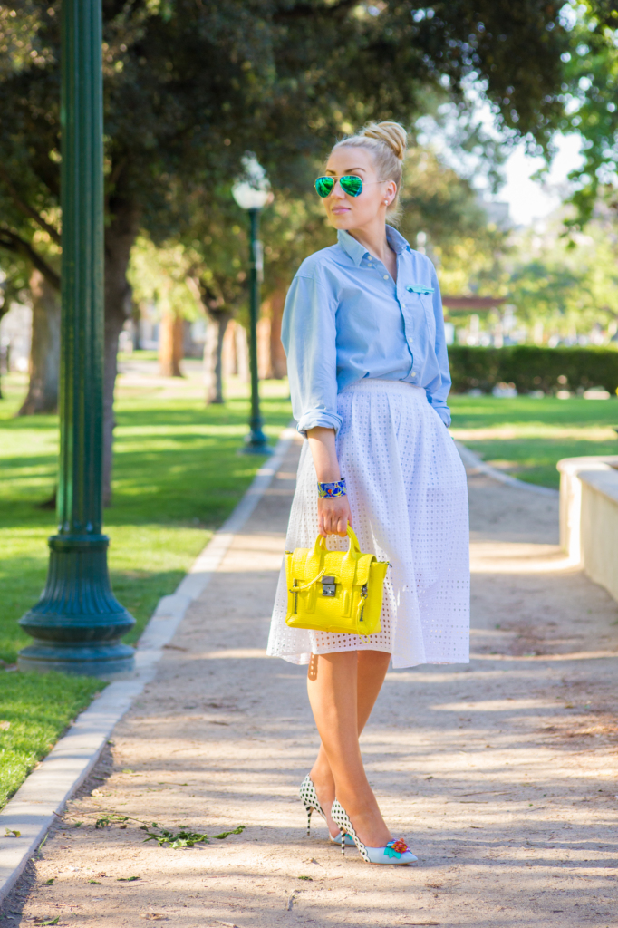 zara skirt,h&m shirt,pashli mini bag,ray- bans flash sunglasses