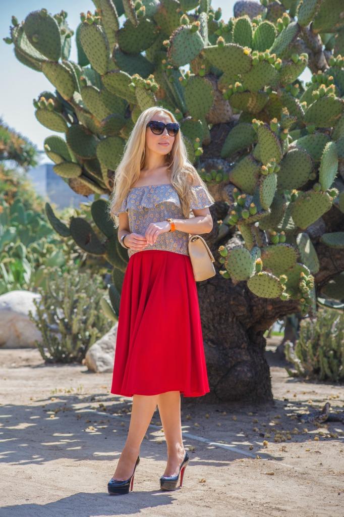 asos scuba skirt,red midi skirt,christian louboutin bianca pumps,chanel bag,cacti