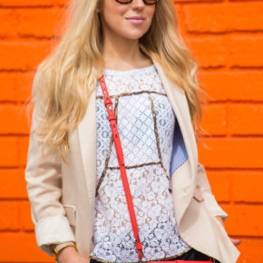 bcbg lace top,bcbg lace t-shirt,zara blazer,beige blazer,beige and red outfit,house of harlow sunglasses