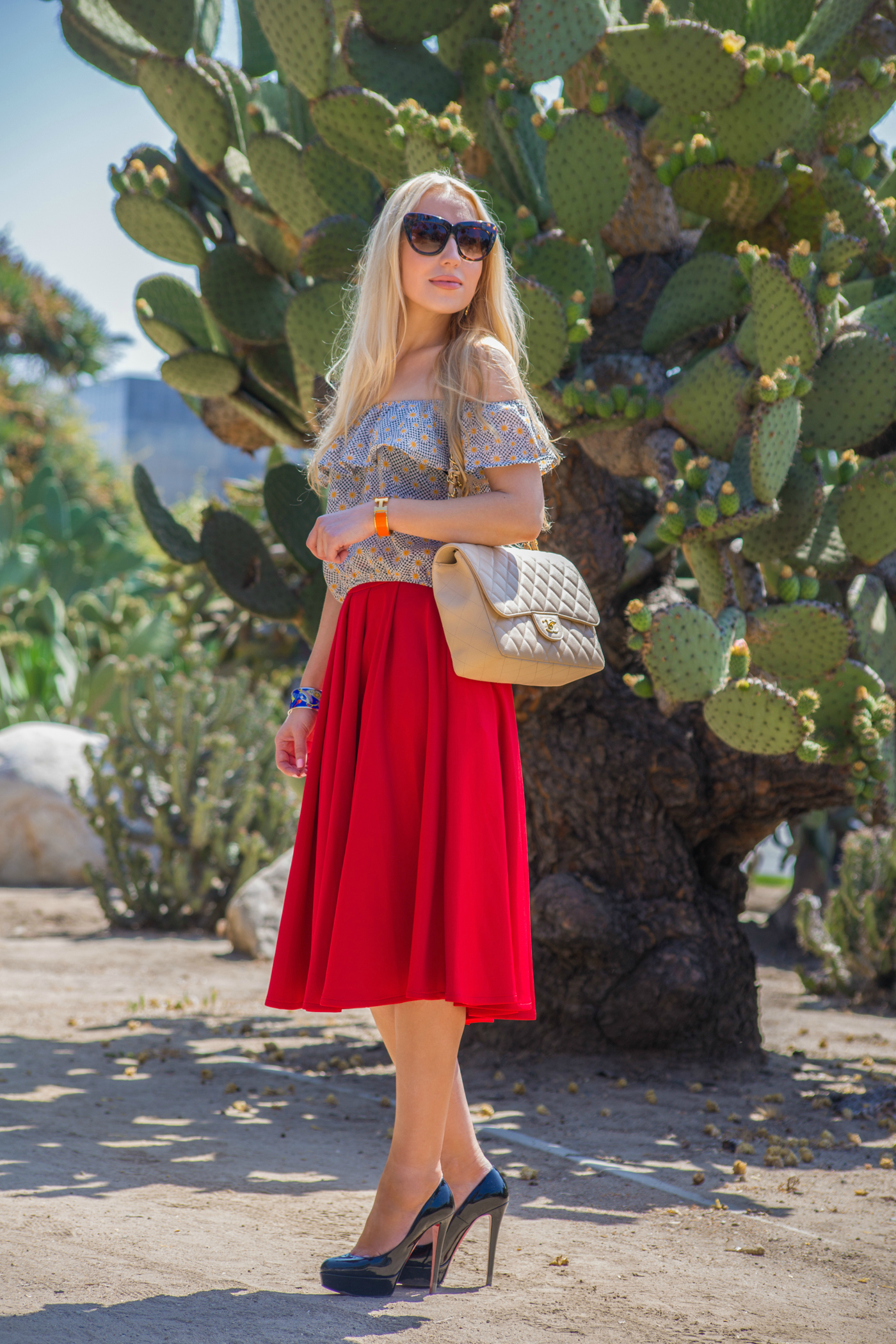 chanel jumbo caviar,christian louboutin shoes,asos red skirt,off the shoulders top,cacti garden