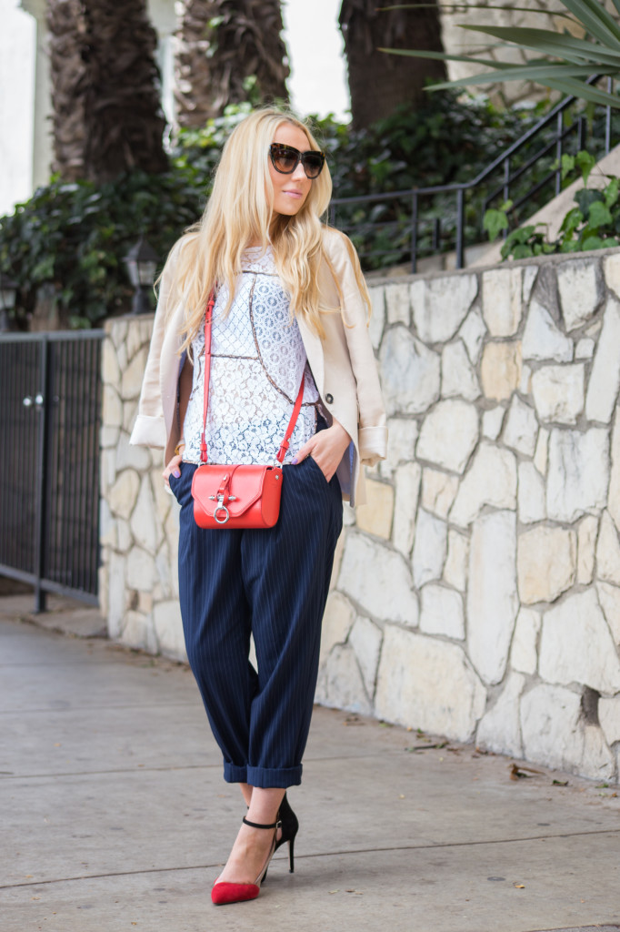 lace t-shirt,red obsidian,lace top,pin stripe pants,h&m pants,zara shoes,ankle strap shoes
