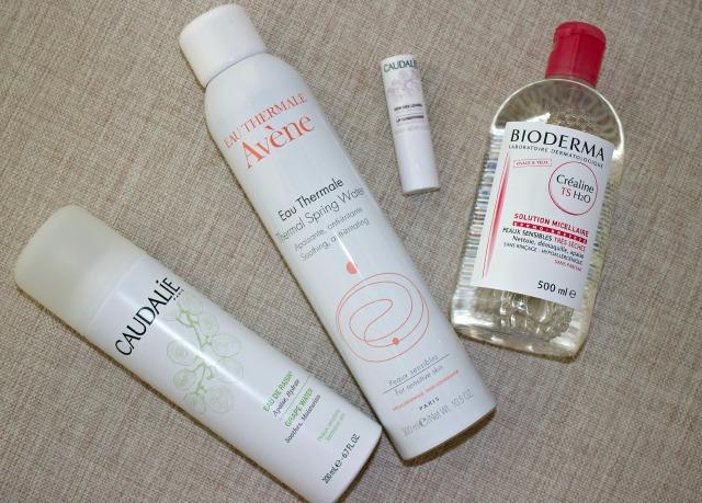 paris drug store must havesAvene Thermal Water Spray, Klorane, Nuxe dry oil Huile Prodigieuse, Caudalie Lip Condioner, Caudalie Grape Water Spray, Caudalie Beauty Elixir, Bioderma