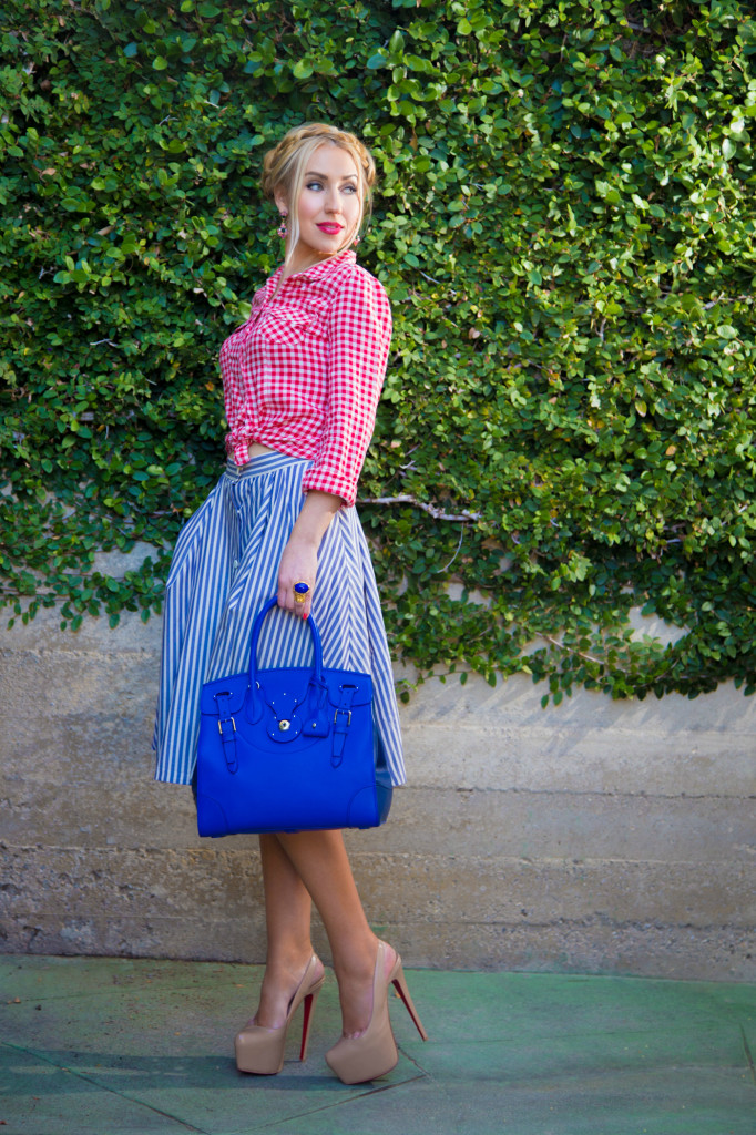 ralph lauren ricky bag,soft ricky bag,zara skirt,old navy shirt,christian louboutin shoes,4th of july outfit,red blue and white outfit