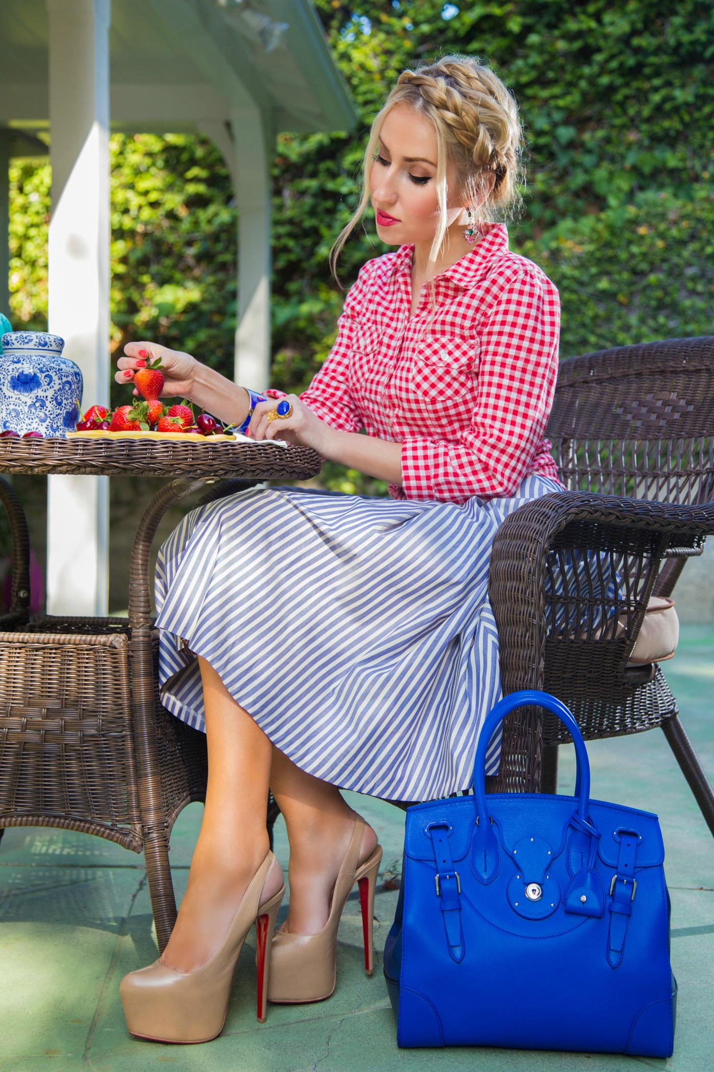 ralph lauren soft ricky bag,striped zara skirt,red plaid shirt,old navy shirt,christian louboutin shoes,hermes bracelet
