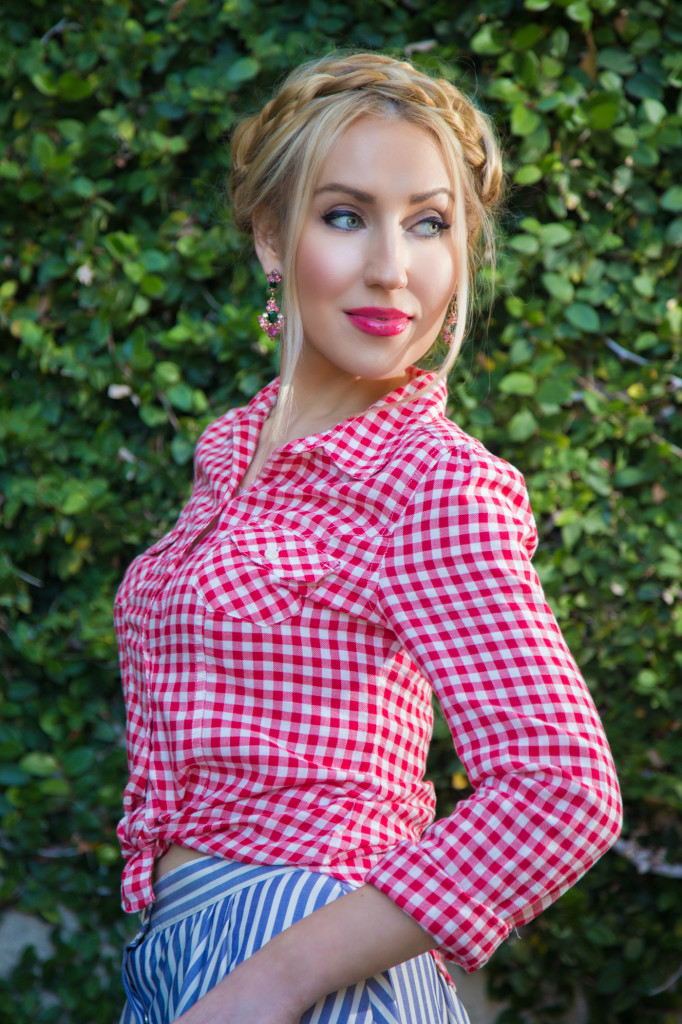 red plaid shirt,red and blue outfit,dior addict fluid stick,americana