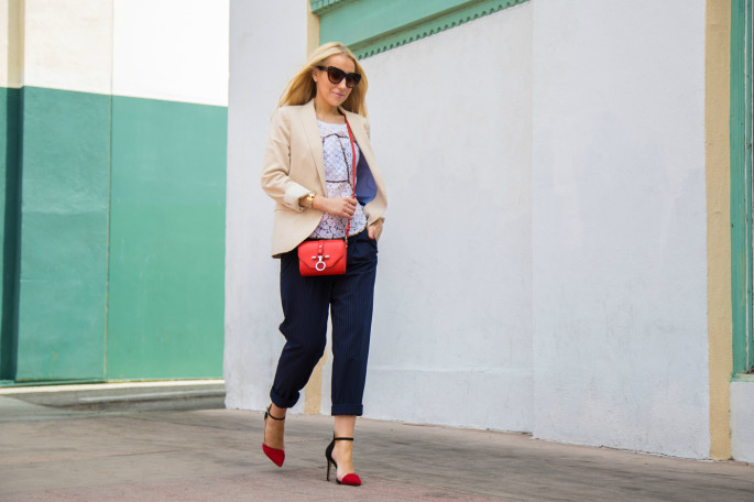 zara blazer,givenchy bag,cuffed pants,beige navy and red outfit