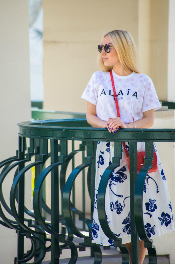 Alaia t-shirt,zara skirt,alaia logo
