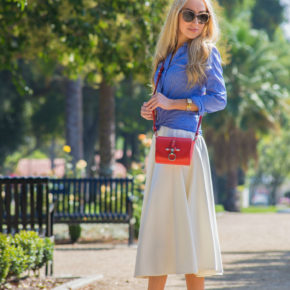 asos white skirt,royal blue pumps,red cross body bag,red white and blue outfit