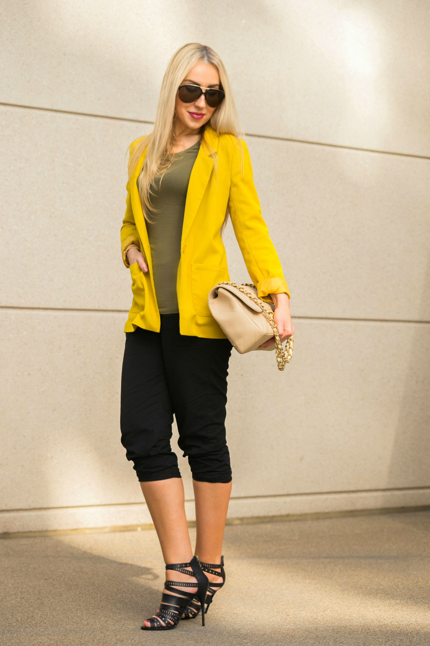 balmain sandals,vince cropped pants,H&M top,asos blazer,chanel jumbo