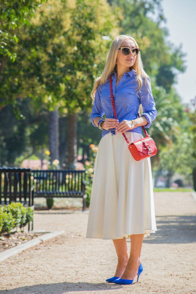 blue and white outfit,white after labor day, asos scuba skirt,red givenchy obsidian bag ,H&M shirt,zara pumpsWhite After Labor Day