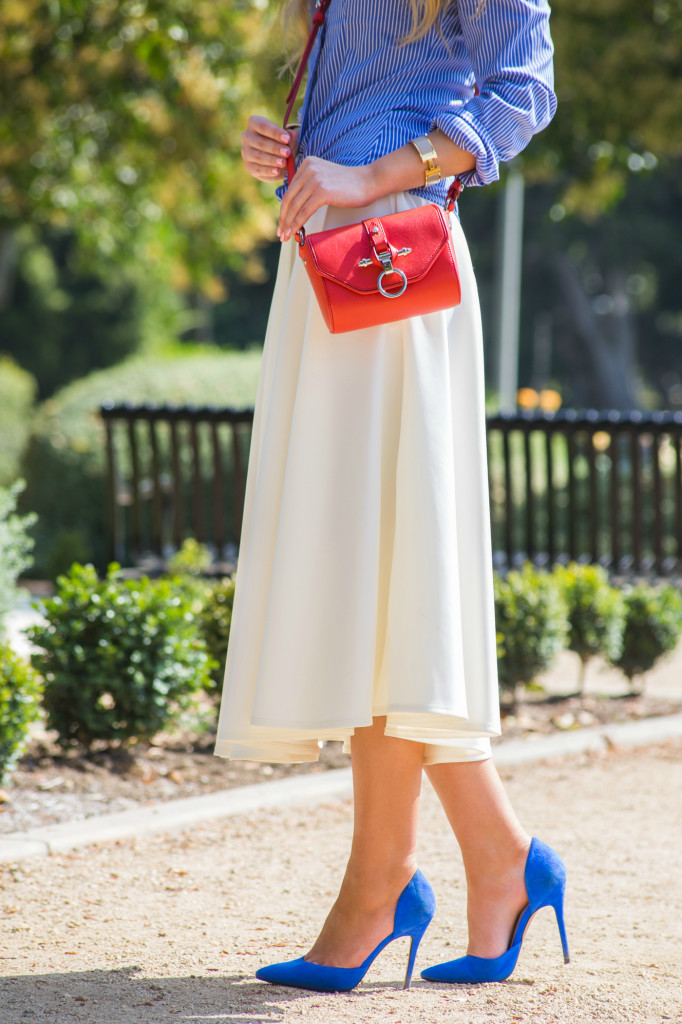 blue and red outfit,blue suede pumps,red obsedia bag