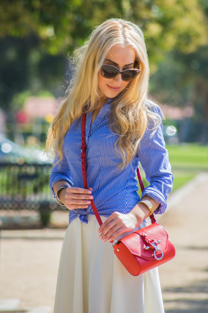 blue,red and white outfit,miu miu sunglasses