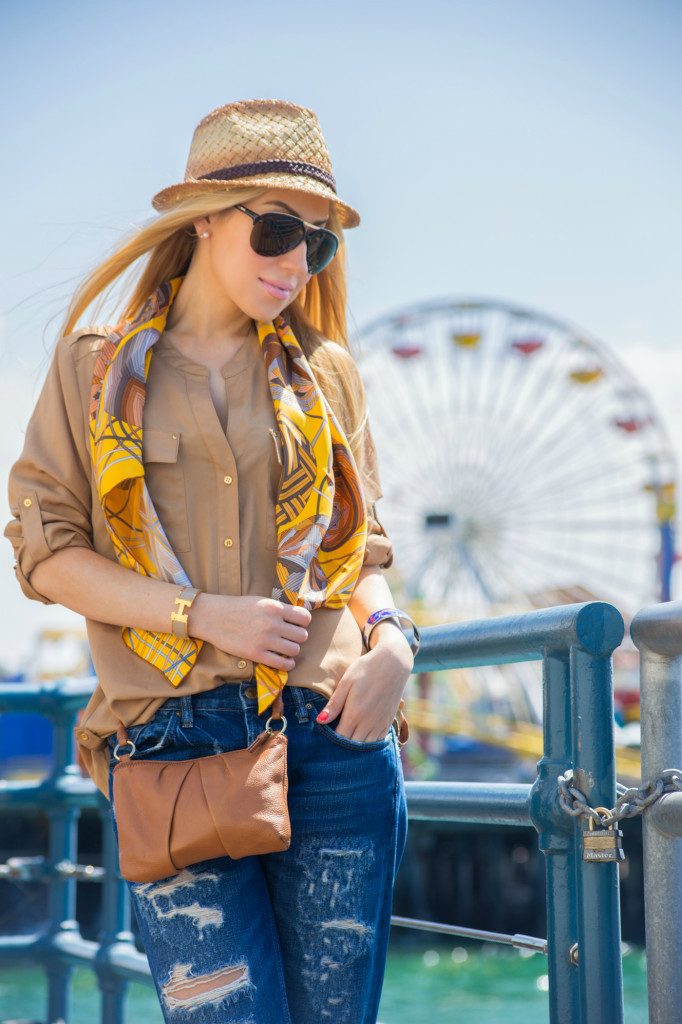 hermes silk scarf,true religion hat,tan mini bag,honey hues,beach outfit