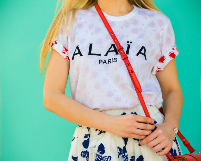 logo t-shirt,alaia logo, alaia paris tee