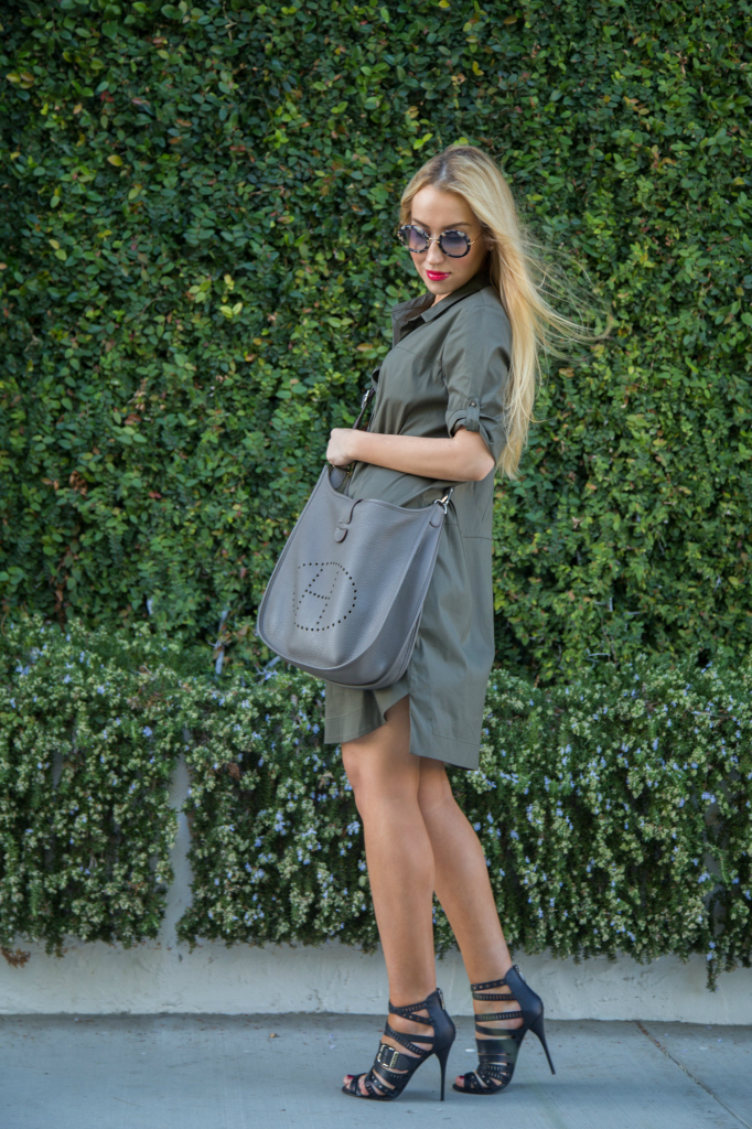 military shirt dress,zara dress,balmain sandals,hermes bag,miu miu sunglasses